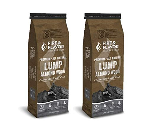 Fire & Flavor Premium All Natural Almond Wood Lump Charcoal 2 Pack