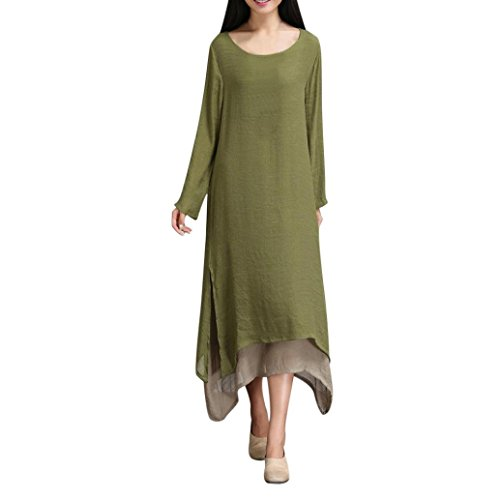 XILALU Women's Plus Size Cotton Linen Loose Dress O-Neck Long Sleeve Solid Two Color Stitching Boho Beach Dress (XL, Army Green)
