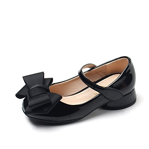 Chiximaxu Maxu Girl's Sandals Mary Jane Shoes with Bowknot Black,Little Kid Size 13