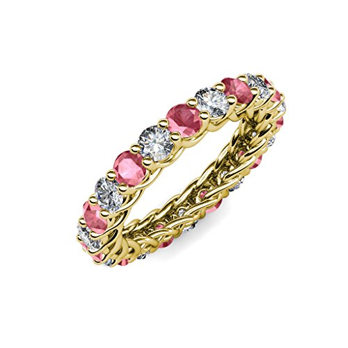 Tourmaline Gallery Pink - TriJewels Pink Tourmaline & Diamond 3.4mm Gallery Eternity Band 2.76-3.19 ctw 14K Yellow Gold.size 6.25