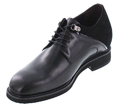 Calto Y67021-3 Inches Taller - Hoogte Toenemende Liftschoenen - Zwarte Leren Veterschoenen