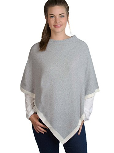 Zwillingsherz Womens Wrap Poncho Topper - with Cashmere - various colors - light grey