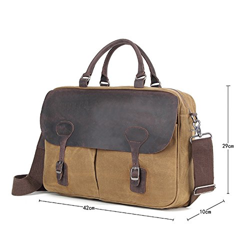 Khaki Men's Document Vintage Bag Wax Canvas Official Men Oil Shoulder Crossbody Business qqRPv7nx