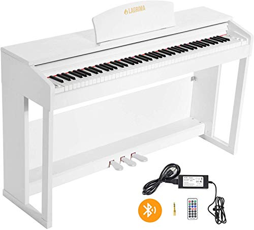 LAGRIMA LG-803 88-Key Beginner Digital Piano with Full-Size Weighted Keys | Muti-functional Piano with 3 Pedals and Bluetooth | Multi-tone Selection – White Suit for Beginer