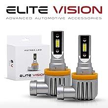 Elite Vision Astrea Slim Fit Fanless LED Kit For Bright White Headlights Bulbs, Low Beams, High Beams, Fog Lights (H11 (H8, H9, H16))
