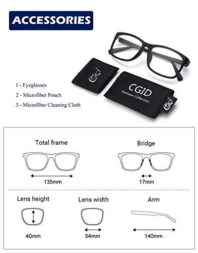 Mujer y Mate Claro Gafas Lente Anteojos CGID Retro CN12 Hombre Negro Para xq6v08