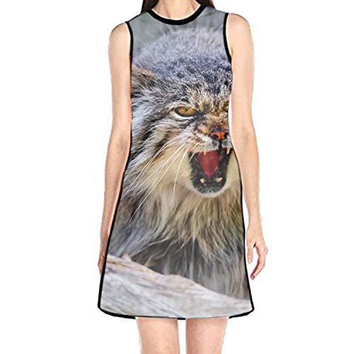 Women's Sleeveless Sundress Pallas' Cat Print T-Shirt Dress A-Line Tunic Shirt ()