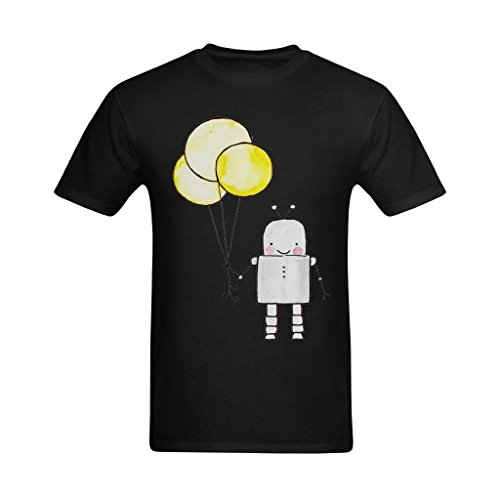 Whose Favor Men's Robot And Balloons Painting Art Design T-Shirt - Fashion T-shirt US Size XL]()