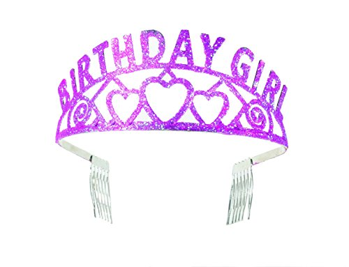 Forum Novelties Pink Glitter Tiara Birthday Girl