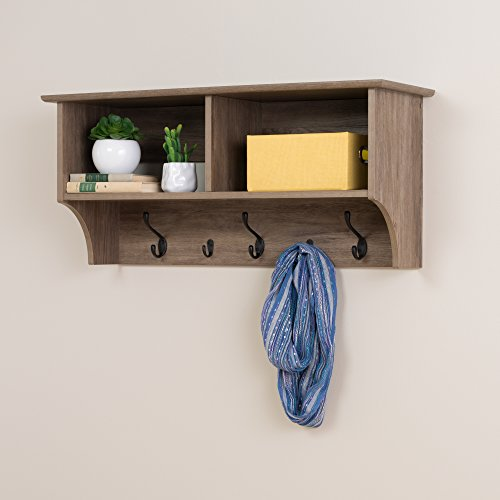 "Prepac 36"" Wide Hanging Entryway Shelf, 36 inches, Drifted Gray"