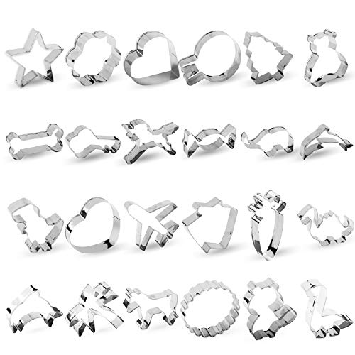 RUCKAE Cookie Cutters Set,24-Piece,Cartoon Cookie Cutters Biscuit Mould for DIY Baking Cake Craft Pastry Bakeware Decoration