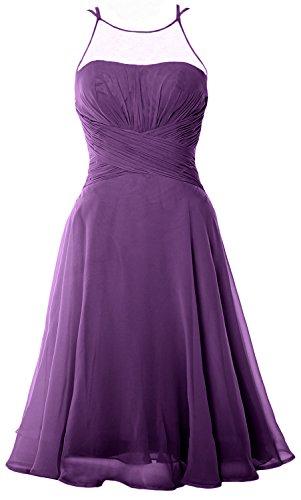 Chiffon Party Eggplant Cocktail Formal Wedding Illusion Short Elegant Dress MACloth Gown qpS47xC