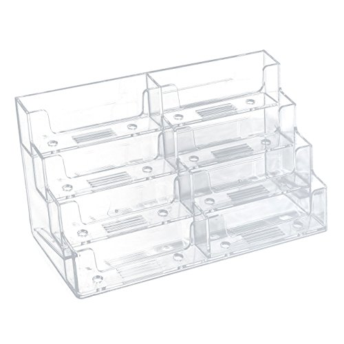 Acrylic Business Card Holder – 8 Pockets Clear Business Card Display Stand for Office, Desktop, and Counter, Transparent, 320 Capacity, 7.8 x 3.5 x 4.3 inches (Desktop Eight Pocket Plastic)