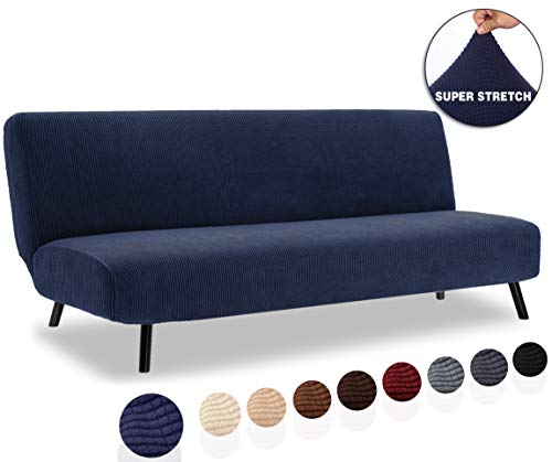 TIANSHU Armless Sofa Cover, Stretch Sofa Bed Cover, Anti-Slip Protector for Couch Without Armrests, Spandex Jacquard Fabric Slipcover Futon Cover (Futon, Navy Blue)