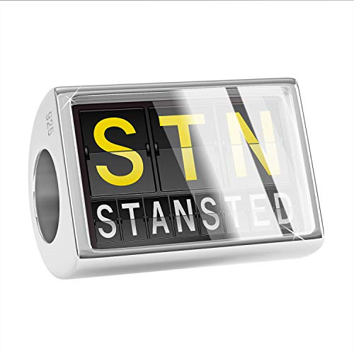 NEONBLOND Charm STN Airport Code for Stansted 925 Sterling Silver Bead