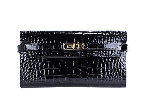 - Women's Long Leather Wallet Crocodile Embossed Padlock Clutch Card Holder Handbag(Black)