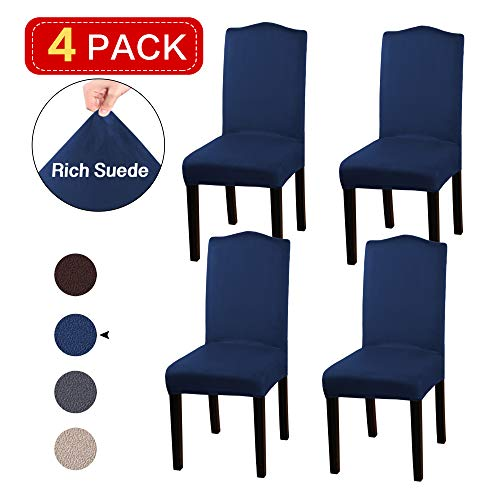 Turquoize High Dining Chair Protector Velvet Stretch Dining Room Chair Slipcovers Set of 4 Chair Slipcover Washable Removable High Fit for Dining Room Set of 4, Navy