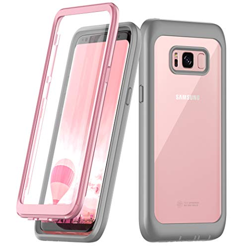(Samsung Galaxy S8 Case, Singdo Built-in Screen Protector Cover 360 Degree Protection Rugged Clear Bumper Case for Samsung Galaxy S8 (Pink))