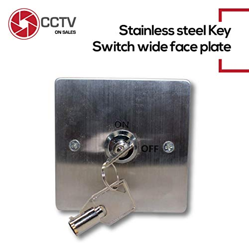 Access Control ON & Off Exit Door Lock Emergency Release Tubular Key Switch Stainless Steel N/O, N/C, COM with Back Box Included Weather-Resistant