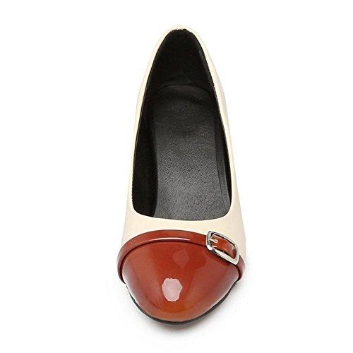 COOLCEPT Zapato Mujer Western Tacon Ancho medio Sin Cordones Mixed Colors  Court Zapatos With Hebilla Marron ... e4b98821de38