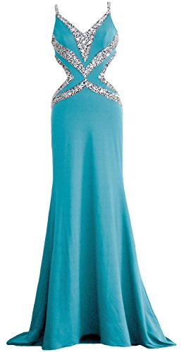 MACloth Women Mermaid Straps Sequin Long Prom Evening Gown Formal Party Dress (EU38, Negro)