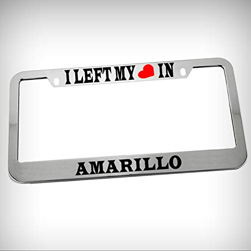 Amarillo Silver Accent - I Left My Heart in Amarillo Zinc Metal Tag Holder Car Auto Novelty License Plate Frame Decorative Border - Chrome \ Silver Color Sign for Home Garage Office Decor