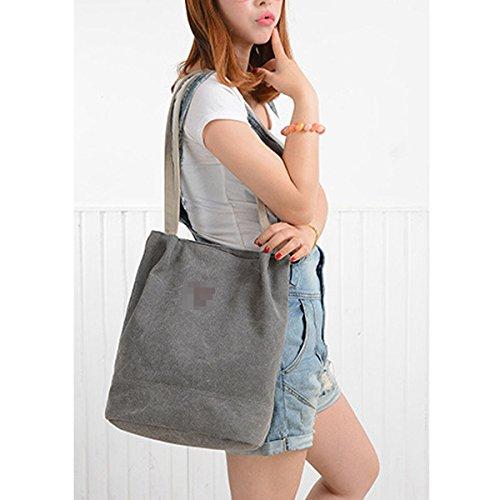 Mujeres Vintage Espacioso Lienzo Hombro Bolsa De Tela Top-handle Bolso Grey