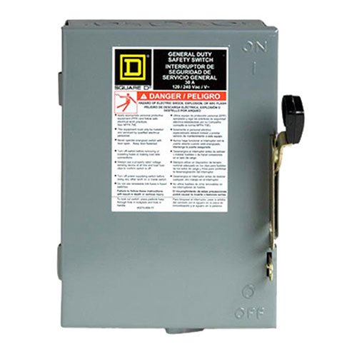 (Square D by Schneider Electric D211NCP 30 Amp 120/240-Volt Two-Pole Indoor General Duty Fusible Safety Switch with Neutral)