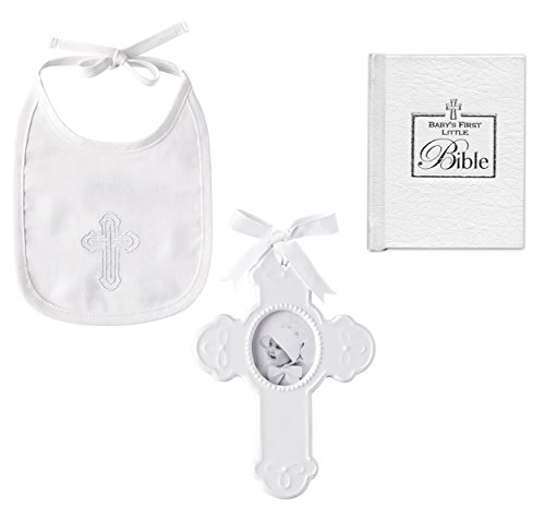 Baptism Gift for Baby: Cross and Bib Set from Mud Pie plus Babys First Bible | Christening Gift for Boy or Girl