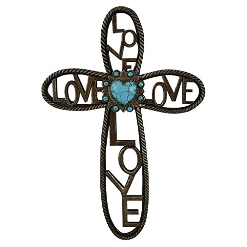 Pine Ridge Western Love Wall Cross Turquoise Heart Centerpiece Word Inscribed Love-Beautifully Hand Painted