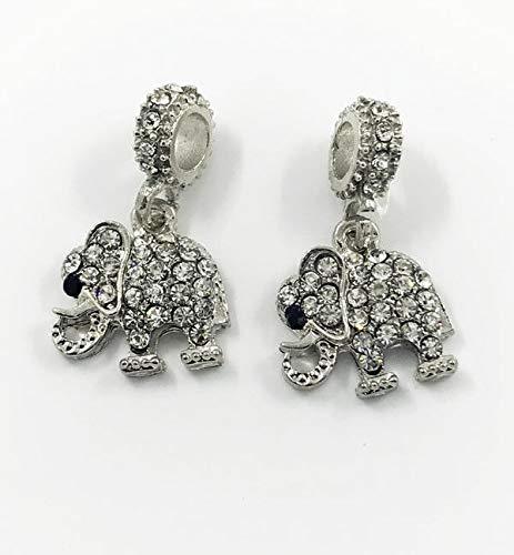Crystal Elephant European Silver Pendant CZ Charm Beads Fit Necklace Bracelet A1