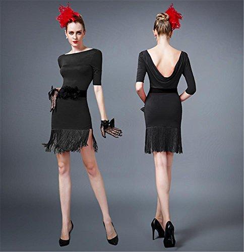 De Professionnelle Black Panicule jupe Latine Concours Robe Danse Femme pAEwxqUOO