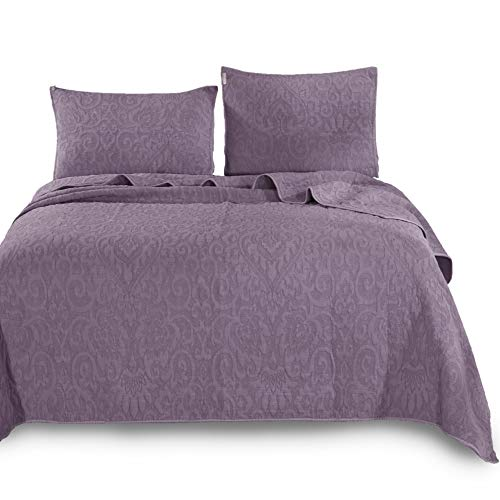 KASENTEX Ultra Soft Stone-Washed Quilt Set 100% Cotton Contemporary Stitched Floral Design Bedspread Lightweight Comforter Coverlet Bedding w/Pillow Cover Shams, KING104X88+20X36 X2, Purple-B