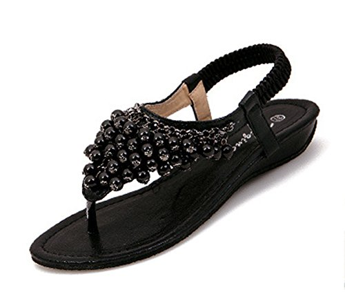 Aisun Womens Boho Beaded Open Split Toe T Strap Elastic Flat Beach Thong Sandals Shoes Black WQUNO1GOzL