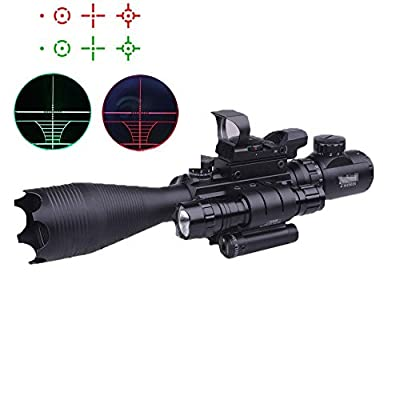 Higoo Riflescope 4-16x50EG Red/Green 5 level Illuminated Rangefinder Reticle Tri-picatinny Rail Rifle Scope with Red Laser & Tactical Flashlight & Holographic Red Green Dot Sight