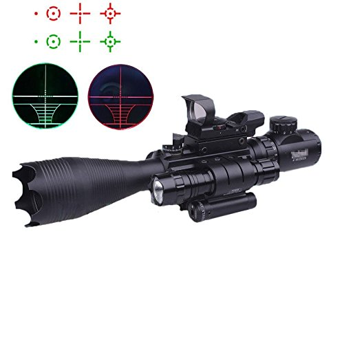 Higoo Riflescope 4-16x50EG Red/Green 5 level Illuminated Rangefinder Reticle Tri-picatinny Rail Rifle Scope with Red Laser & Tactical Flashlight & Holographic Red Green Dot Sight (Scope Tri Rail Tactical)