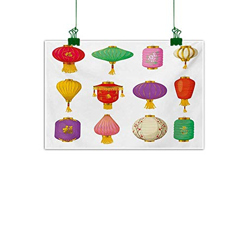Unpremoon Lantern,Wall Decoration Chinese Celebration Asian Culture Far East New Year Cartoon Style Festival Tassels Living Room Wall Decor Multicolor W 32