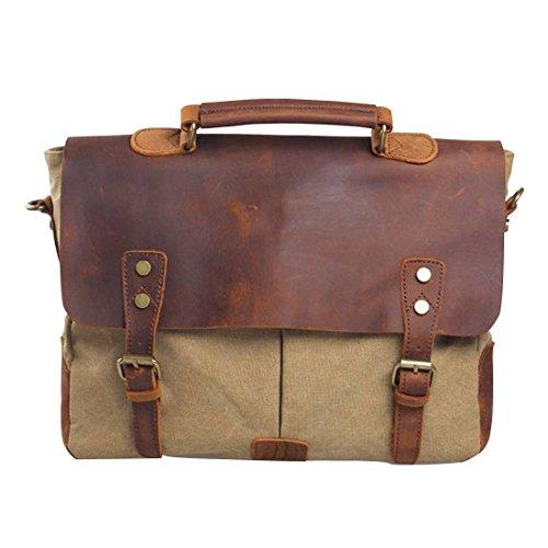 Jeansian Cartera De Mano De Viaje De Lona De Los Hombre Mujer Unisex Men's Womens Unisex Hand-held Briefcase BG053 Khaki