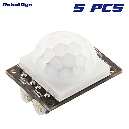 RobotDyn - 5 PCS - PIR Motion Sensor for Arduino, STM32, Raspberry pi projects