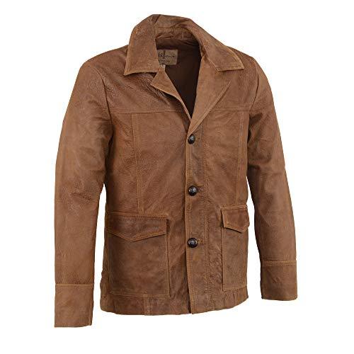 (M-BOSS-Men's Leather Car Coat Jacket w/Button Front (Brown, 2XL))