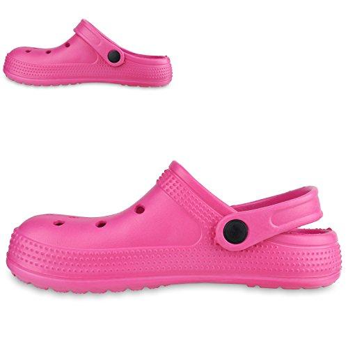 Stiefelparadies Damen Hausschuhe Pantoletten Wasserschuhe Slipper Sommerschuhe Rutschfeste Schuhe Gartenschuhe Clogs Gummischuhe Flandell Pink