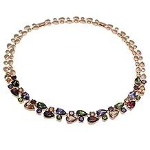 "Chain Necklace Rose Gold 925 Sterling Silver Gemstone Amethyst Morganite Garnet Gifts 20"""
