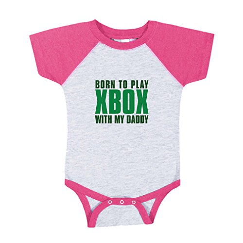 Price comparison product image Born To Play Xbox With My Daddy Baby Baseball Raglan Bodysuit Grey/Hot Pink 6 Months