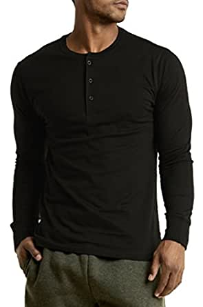 Men's 100% Cotton Casual Premium Long Sleeve 3-Button Henley Shirt (Black, Small)