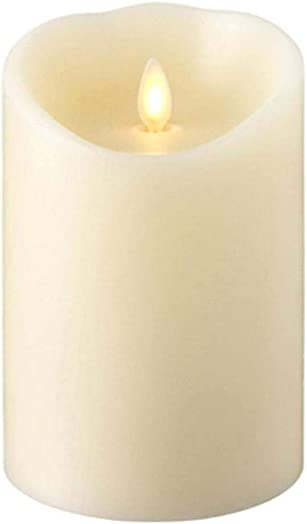 RAZ IMPORTS INC Push Flame Flameless Battery Operated LED Pillar Candle Ivory 4.5 x 5.5 for Home D cor, Holiday and Gift