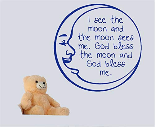 kanlai Decals Stickers Wall Words Sayings Removable Lettering I See The Moon and The Moon Sees Me God Bless The Moon and God Bless Me