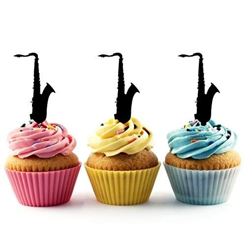 Saxophone Silhouette Acrylic Cupcake Toppers 12 pcs