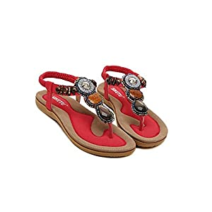 Women Bohemia Style Sling Sandals Flower Beads T-Strap Flip Flop Flats Slip On Thong Refreshing Shoes (Retro Red, 7 B(M) US/38EU)