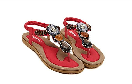 Women Bohemia Style Sling Sandals Flower Beads T-Strap Flip Flop Flats Slip On Thong Refreshing Shoes (Retro Red, 7 B(M) US/38EU)
