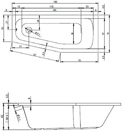 Ab RIHO Acryl Raumsparwanne links Komplett Badewanne wei/ß 160 x 70 inkl und /Überlauf und Styroportr/äger